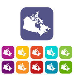 Canada map icons set flat vector