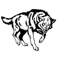 canis lupus black white vector image