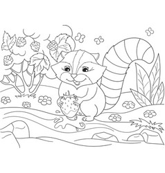 cartoon coloring book black and white nature vector image