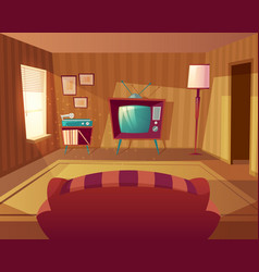 Cartoon living room with sofa tv vector