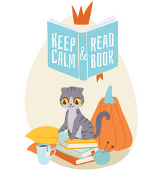 cat sitting on pile books with cup tea and vector image