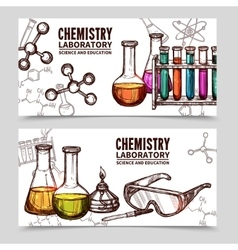 Chemistry Laboratory Sketch Banners vector image