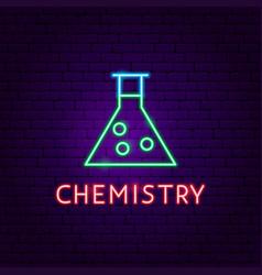 chemistry neon label vector image