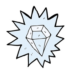 Comic cartoon huge diamond vector