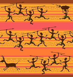 Comic seamless pattern of hunting aborigines vector