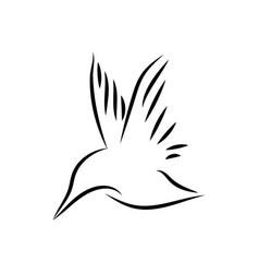 Common kingfisher bird mono line art vector