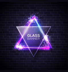 david star neon sign triangle with glass plate vector image