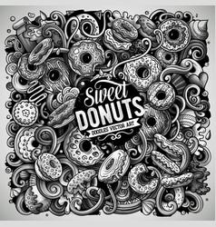 donuts hand drawn doodles vector image