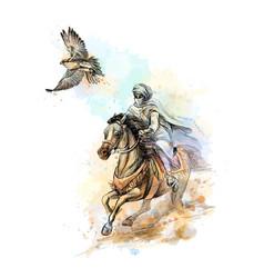 Falcon hunting arabian man with a vector