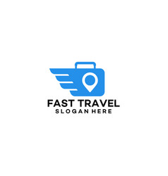 Fast travel logo with suitcase symbol designs vector