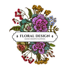 Floral bouquet design with colored wax flower vector