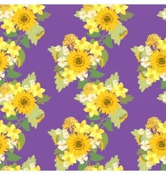 Floral sunflower narcissus strawberry flowers vector
