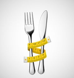 Fork and knife tied measuring tape vector image