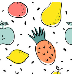 Funny fruits seamless pattern vector