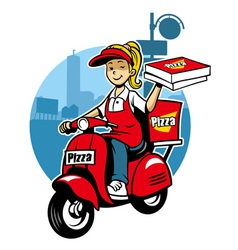 Girl as a pizza delivery service ride a scooter vector