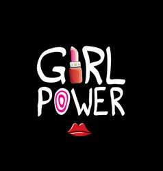 Girl power label or cute sticker with vector