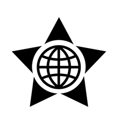Globe in the center of the star icon simple style vector