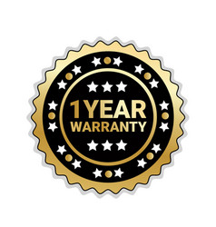 golden seal 1 year warranty sign isolated badge vector image