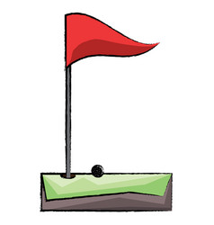 golf hole and flag icon vector image