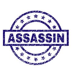 Grunge textured assassin stamp seal vector