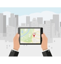 Hand holds smartphone with navigation app vector