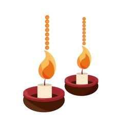 happy bhai dooj celebration hanging diya lamps vector image