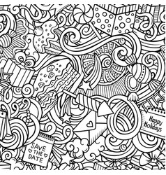 happy birthday hand drawn doodles seamless pattern vector image