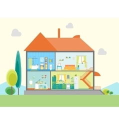 House in Cut View vector