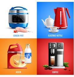 Household appliances 2x2 design concept vector