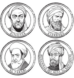 islamic scientists stamp set vector image