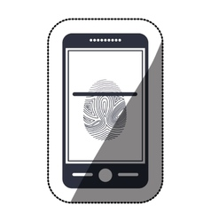 Isolated fingerprint and smartphone design vector image