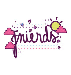 Isolated friends word design vector