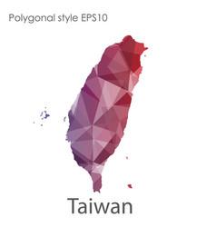 isolated icon taiwan map polygonal geometric vector image