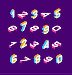 Isometric olored numbers vector
