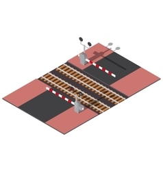 Isometric railway barriers vector image