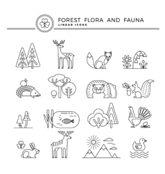 Linear icons of forest flora and fauna vector