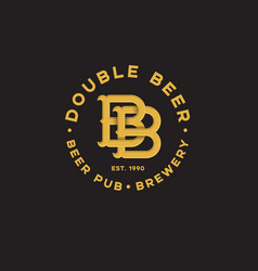 Logo bb pub two beer pub emblem vector