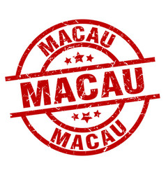 Macau red round grunge stamp vector