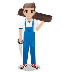 Male carpenter holding saw vector