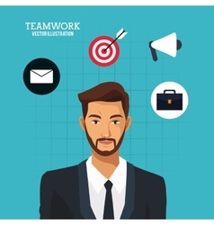 Man bearded suit business teamwork blue background vector