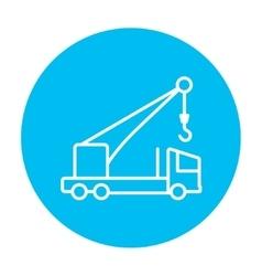 Mobile crane line icon vector image