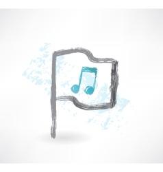 Music flag grunge icon vector image