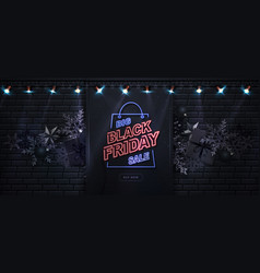 neon sign black friday sale poster banner vector image