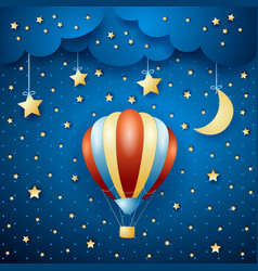 night landscape with hot air balloon vector image