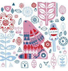 nordic ornaments folk art pattern scandinavian vector image