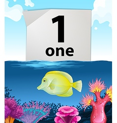 Number one and one fish swimming underwater vector