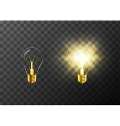 On and off realistic light bulb on transparent vector image