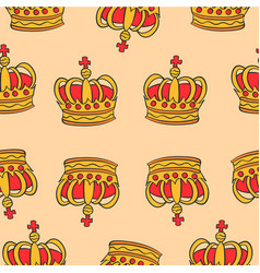 pattern red crown style collection vector image