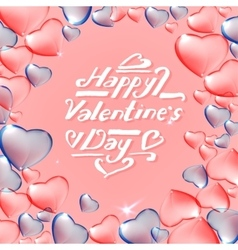 Pink and blue hearts vector