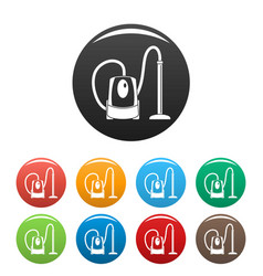plastic vacuum cleaner icons set color vector image